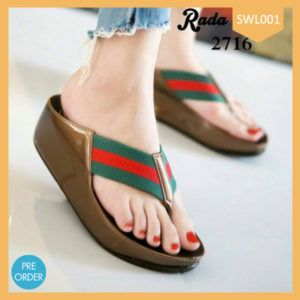 Fashion Sandal Wanita Stripe Double Terlaris