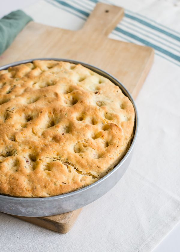 A savory gluten-free focaccia with sun-dried tomatoes, garlic, and Italian herbs.
