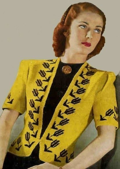 1940s Black Tulip Coat Jacket Cardigan gold yellow knit vintage fashion color photo print ad