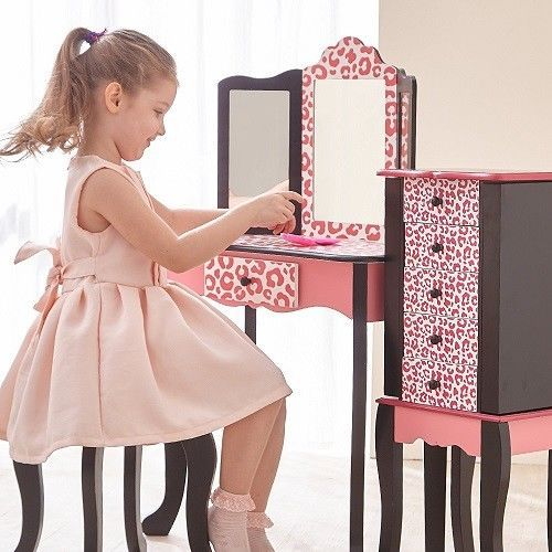 Dressing Vanity Table Mirror Makeup Desk Stool Girls Bedroom Maple Wooden Gift #KidsFurnitureCollection #Girls