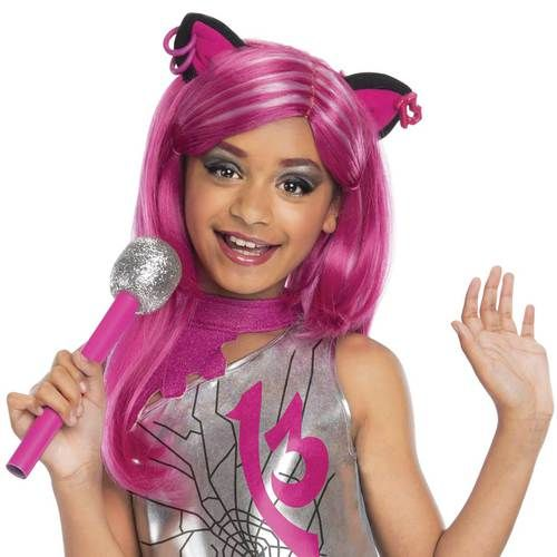 Catty Noir Monster High Wig - The perfect finishing touch for your little girl's Halloween costume, the Catty Noir Monster High Wig adds style and fun. Whether you use it alongside the themed character's full ensemble, or pair it with another costume for a unique look, this flowing pink wig is sure to become your little girl's favorite accessory. #yyc #costume #monsterhigh #wig #kids