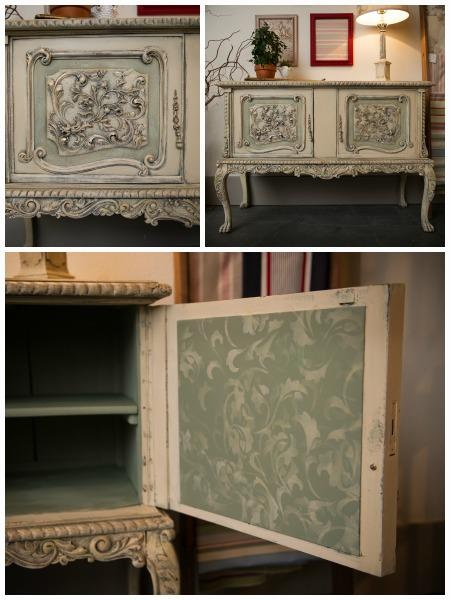 Our Scrollallover Stencil and Chalk Paint® decorative paint helped Vicki Shoemaker of 3 Oaks Studio transform a buffet!