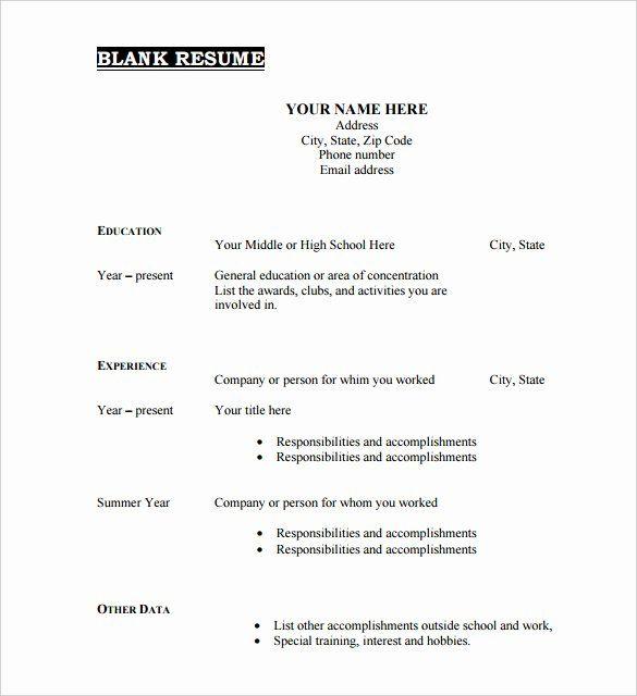 Free Resume Templates Pdf Lovely 46 Blank Resume Templates Doc Pdf In 2020 Free Resume Template Download Downloadable Resume Template Resume Template Free