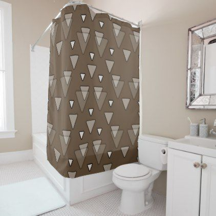 Geometric Triangles in Brown Shower Curtain - shower curtains home decor custom idea personalize bathroom