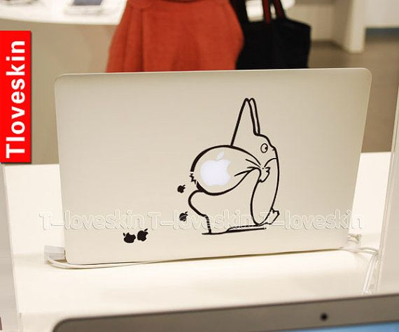 Totoro decal for macbook pro air or ipad stickers macbook decals apple decal for