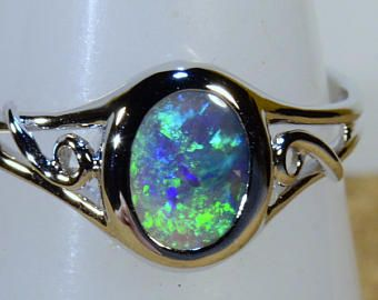 Genuine .45ct. Lightning Ridge Black Opal Ring in Sterling