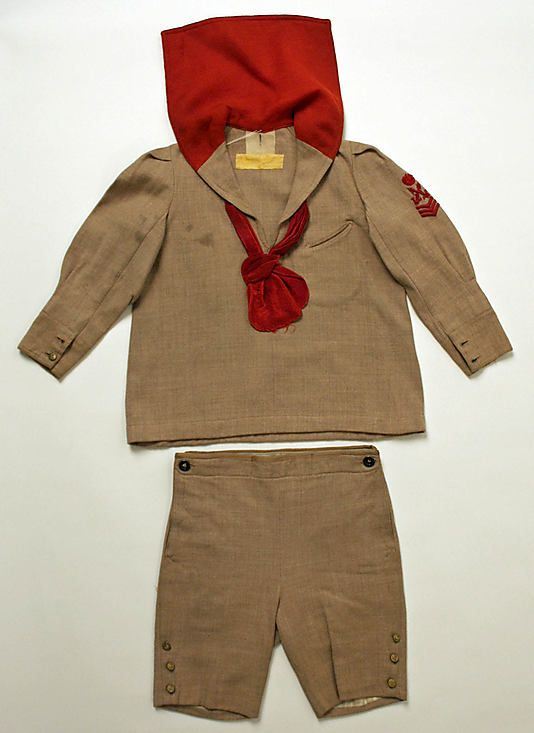 Sailor suit, 1902-14, American ---- @Julie Wojtko I think this might be the sort of thing a litte boy your son's age would have worn in 1912. Or he might still have been in dresses! Isn't it adorable?