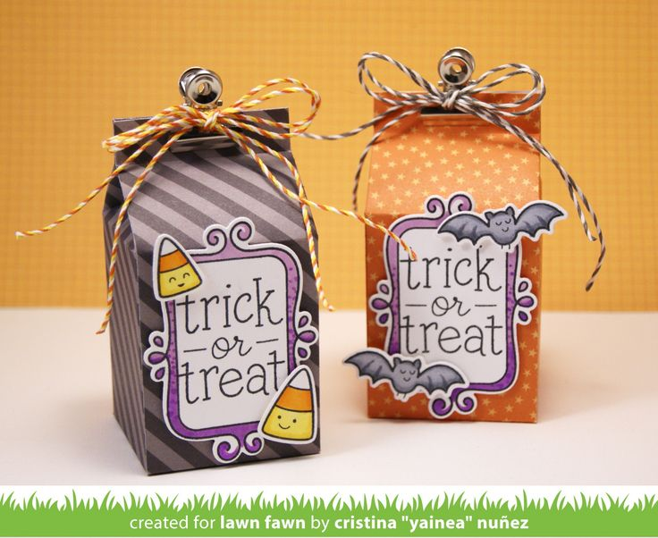 the lawn fawn blog trick or treat flirty frames milk carton halloween - Pinterest Halloween Treat Bags