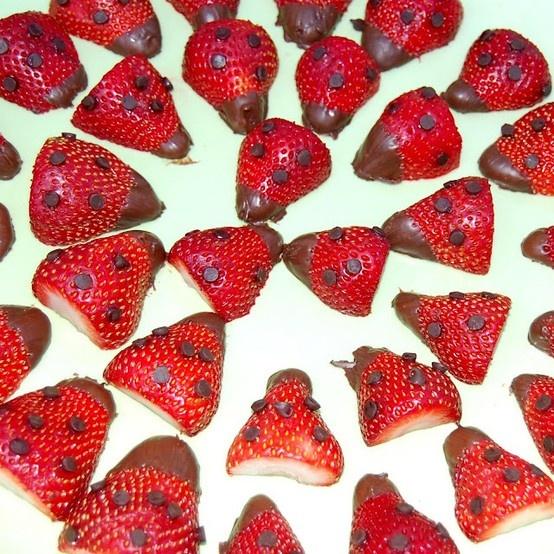 Strawberries dipped in chocolate = Ladybugs Ladybug Love bug birthday party ideas #Ladbug #LadybugBirthday