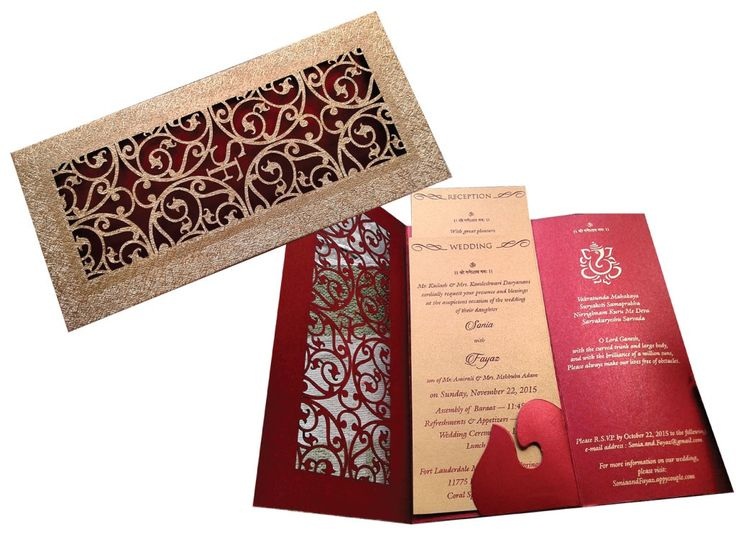 Designer Wedding Card In Red Laser Cut Invitation Royal Theme Of