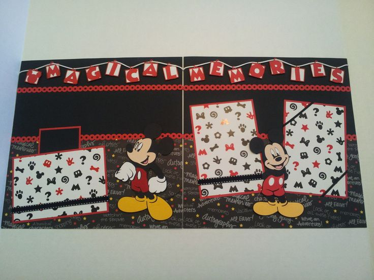 """Disney Mickey Mouse 12"""" x 12"""" Magical Memories 2 Page Scrapbook Layout 