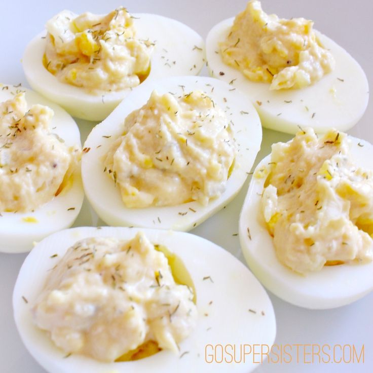 Healthy Deviled Eggs - GoSuperSisters.com - WW Pts+ 1 for each WHOLE Egg, so each half is only 1/2 a Point.
