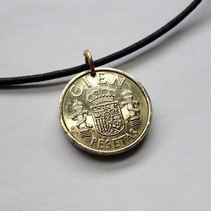 1984 Spain España 100 pesetas charm coin pendant necklace jewelry Spanish coat of arms crown Pillars of Hercules Royal Crown No.000376 by acnyCOINJEWELRY on Etsy