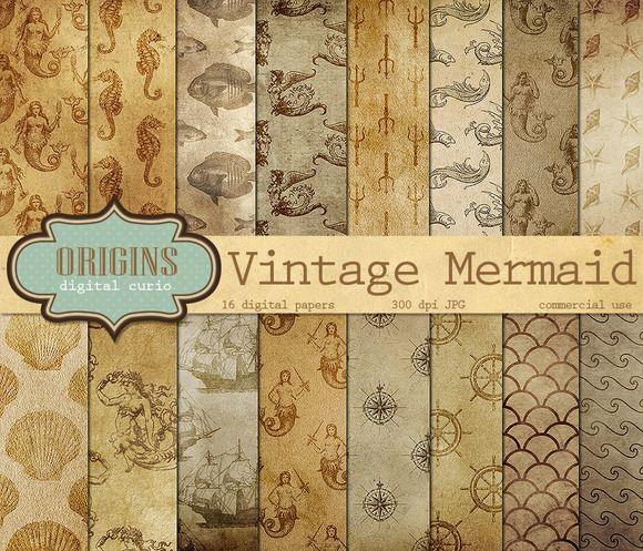 Vintage Mermaid Nautical Backgrounds by Origins Digital Curio on Creative Market