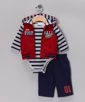 Fall Essentials | Daily deals for moms, babies and kidsBaby Attire, Zulily Fall, Blue Football, Baby Headquarters, Kids Fall, Hoods Vest, Man Zulily, Vest Sets, Fall Essential