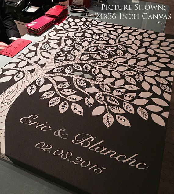 Unique Wedding Guest Book Alternative - Wedding Tree Guest Book - Save the Date - 55-150 Guest Sign In - Canvas or Print - 16x20 Inches