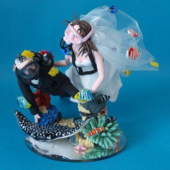 Scuba Diving Bride And Groom Wedding Cake Topper Personalised Handmade