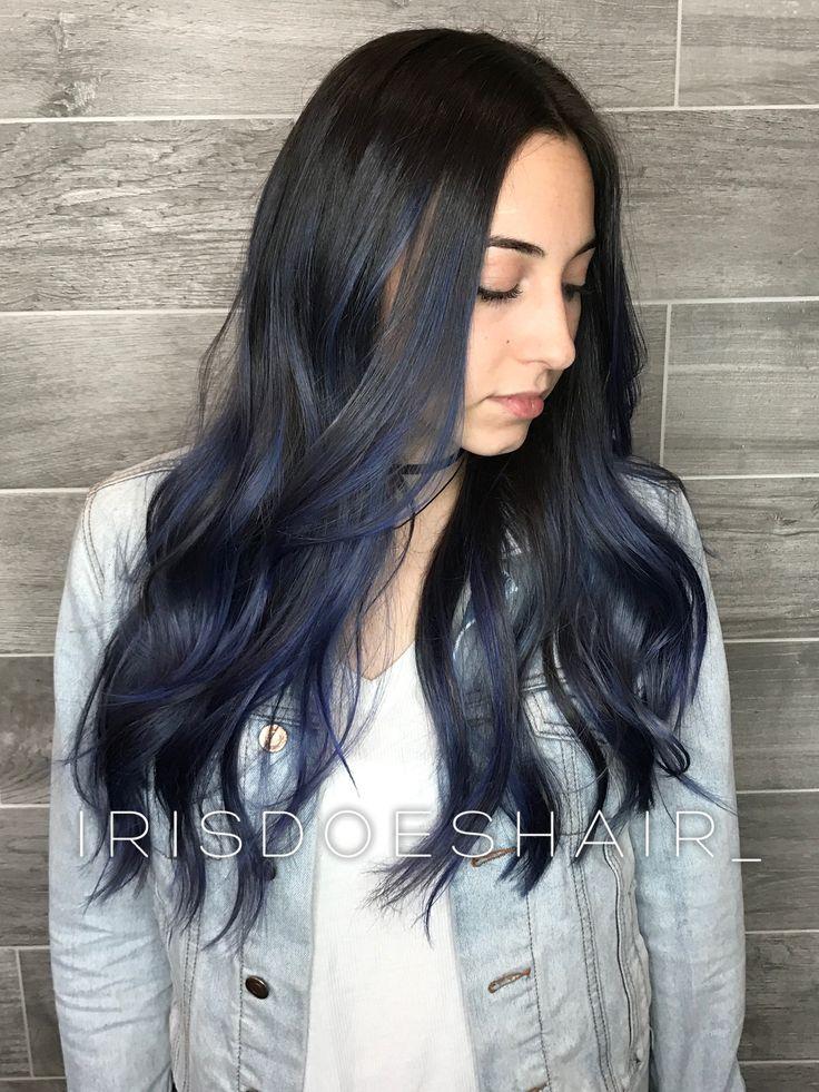 Long blue balayage hair