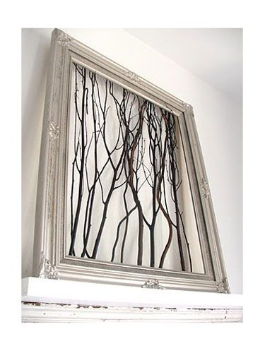 This simple-yet-chic homemade artwork is a perfect (and super inexpensive) gift for mom!: Wall Art, Ideas, Wallart, Sticks, Trees Branches, A Frames, Diy, Pictures Frames, Twig Art