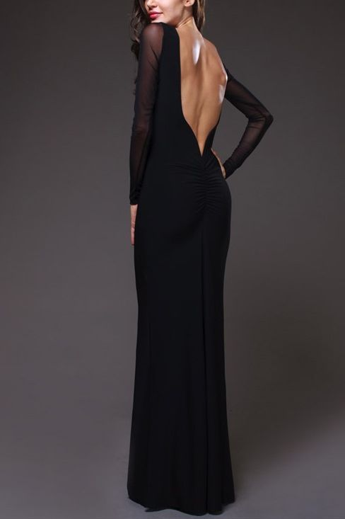 Sexy Backless Dress with Long Sleeves in Black - Mimi McQueen Dresses Canada