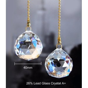 2 of Clear 26% Lead Crystal Ceiling FAN Pulls Chain 40mm