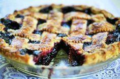 Homemade boysenberry pie recipe with fresh off-the-vine boysenberries, a cross between blackberries, loganberries, and raspberries.