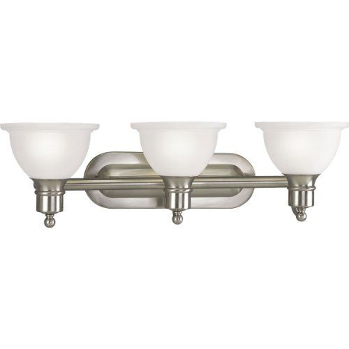 Progress Lighting P3163-09 3-Light Wall Bracket with White Etched Glass, Brushed Nickel by Progress Lighting. $91.29. From the Manufacturer                With a timeless, uncomplicated sensibility, the Madison Collection offers decorating versatility along with classic style. Three-light wall bracket with white etched glass Uses (3) 100-Watt medium base bulbs 27-1/2-Inch Width x 8-Inch Height Fixture mounts in up or down position                               ...