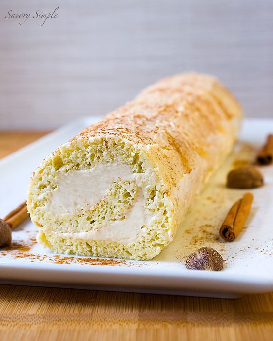 This Eggnog Roulade with Rum Buttercream will be the star of your holiday parties!