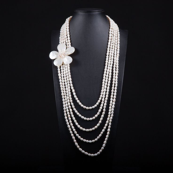 Necklace with 5 lines of fresh water pearls, silver clasp and a mother of pearl flower. Multistrand, gemstone, bridal, wedding, handmade by Menir on Etsy