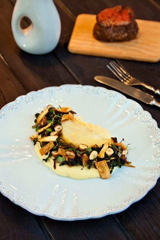 Lammfilé med saltbakad rotselleri, svamp och äpple – Fillet of lamb with baked celeriac, mushroom and apple