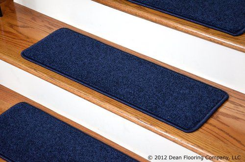 Best Dean Carpet Stair Treads 27 X 9 Navy Blue Plush Set Of 400 x 300