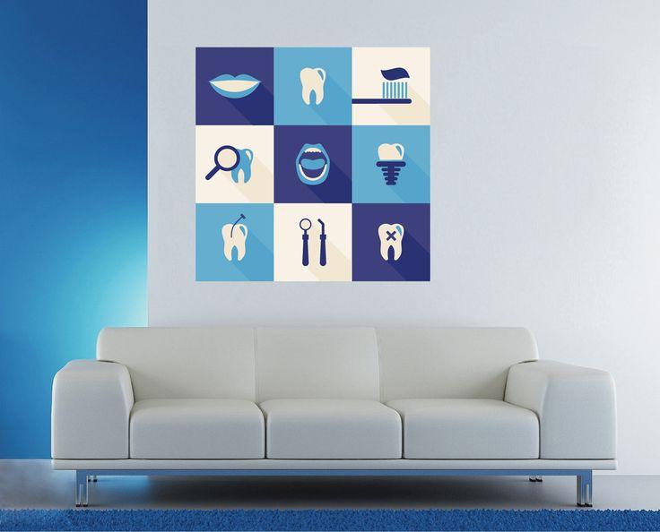 cik1528 Full Color Wall decal Services teeth dentist dental surgery Clinic Hospital
