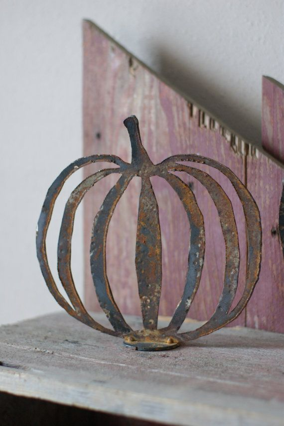 Rustic Metal Pumpkin Pair by MetalMeltersllc on Etsy, $32.00 I wonder how to DIY this? Pinning as an idea.