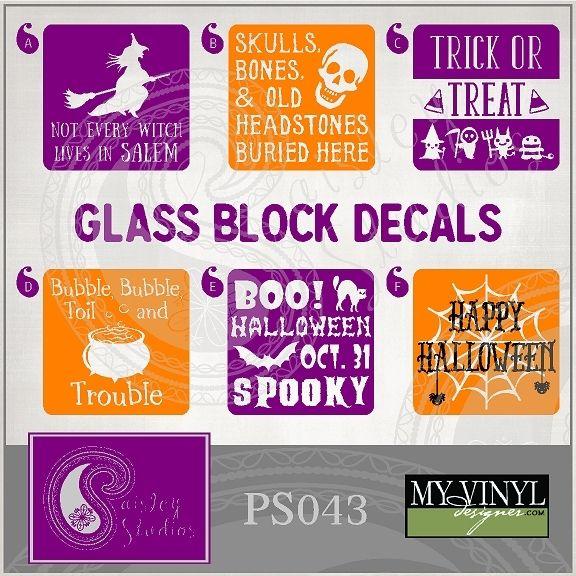 Best Cricut Glass Blocks Images On Pinterest Christmas Glass - Halloween vinyl decals for glass blocks