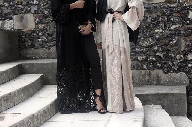 Lace Abaya | Black and Nude