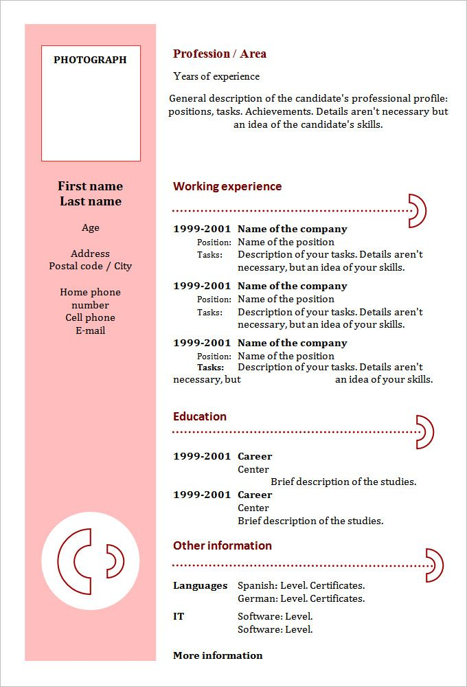 Las 25 mejores ideas sobre Sample Of A Cv en Pinterest - chronological resume