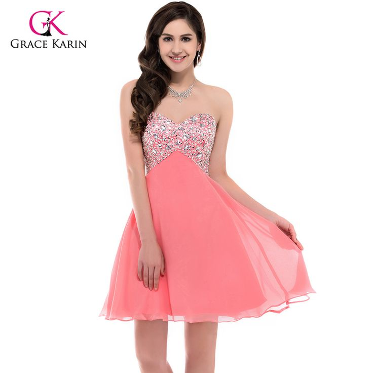 Black White Coral Cocktail Dresses 2017 Grace Karin Chiffon Beading Short Coctail Dress for Ladies Girls Bling Party Dress