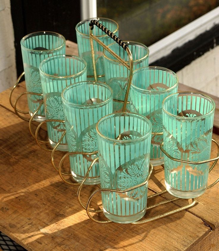 turquoise drinking glass image | Vintage Aqua, Turquoise, Sky Blue Drinking Glasses with Gold Tone ...