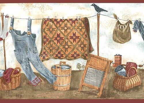 Country Laundry Wallpaper Border Wt1046b Room Clothesline Ebay Bathroom Ideas Pinterest