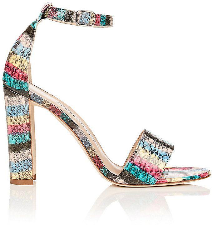 Manolo Blahnik Women's Lauratopri Snakeskin Sandals