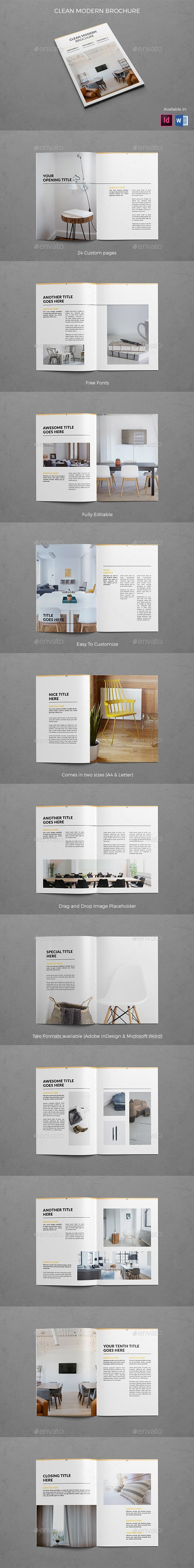 Clean Modern Brochure Template InDesign INDD