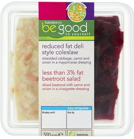 Sainsbury's Be Good to Yourself Reduced Fat Deli Style Coleslaw & Less Than 3% Fat Beetroot Salads (2 per pack - 500g)