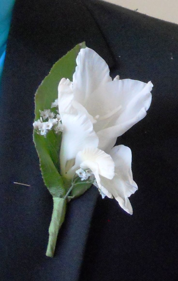 yellow gladiolus boutonniere | Above: Boutonniere - white gladiolus