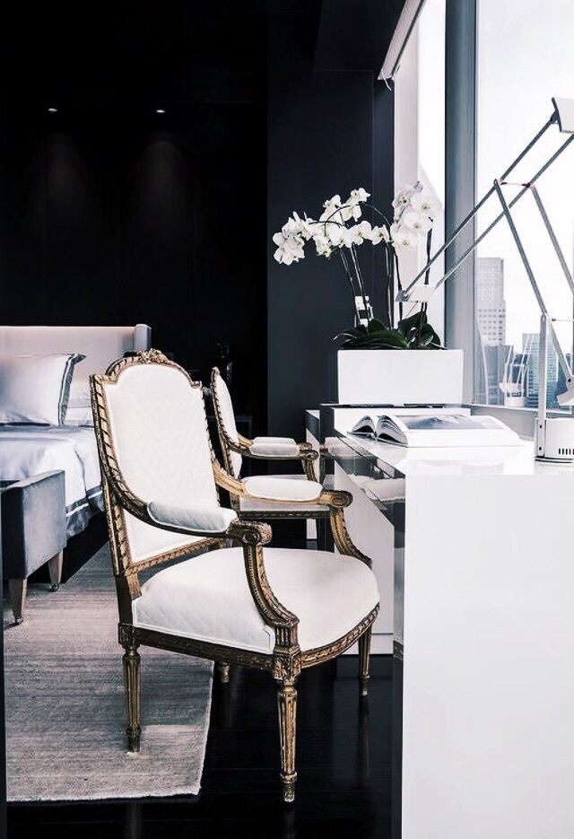 FOR THE HOME || Classic contemporary office with antique French chair & black bedroom setting || NOVELA BRIDE...where the modern romantics play & plan the most stylish weddings... www.novelabride.com @novelabride #jointheclique