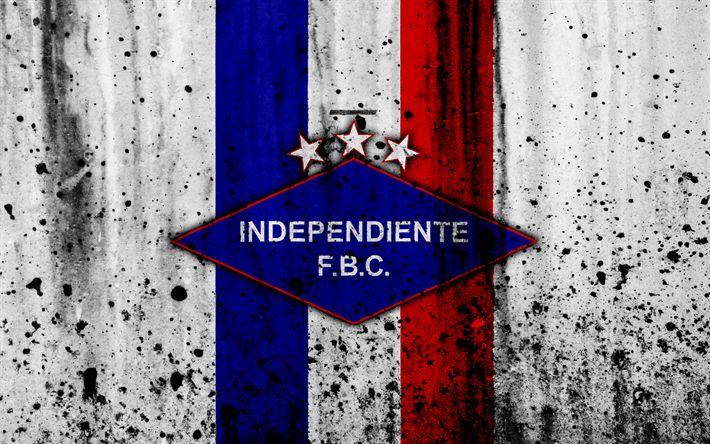 Download wallpapers 4k, FC Independiente, grunge, Paraguayan Primera Division, soccer, football club, Paraguay, Independiente, art, logo, stone texture, Independiente FC