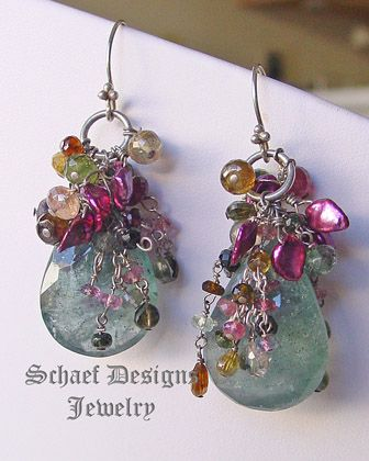 Large Moss Aquamarine Briloettes topped with Shaded Tourmalines in Pink, Green, Gold and Rose and Raspberry Keishi Perals | Sterling Silver | Luxe Gemstone Dangle Earrings |Schaef Designs Gemstone & Pearl Jewelry | online jewelry boutique | San Diego, CA