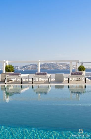 The swimming pool at the Grace Mykonos Hotel
