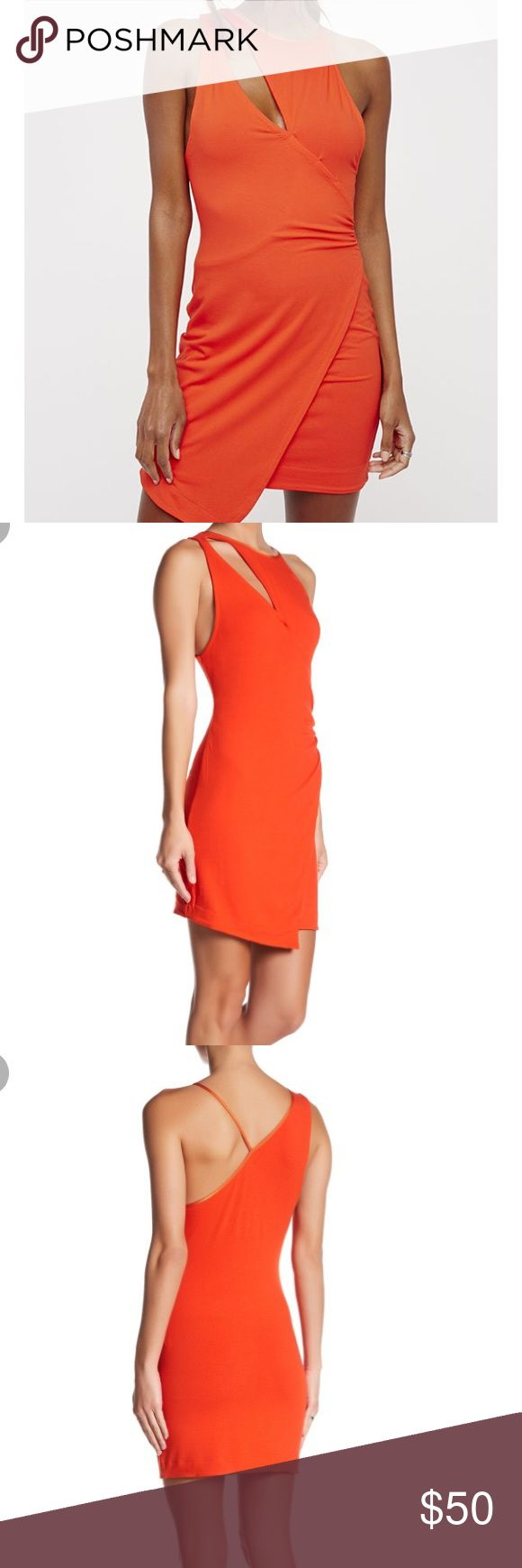 """[Free People] Toast To That Orange Mini Dress Details  - Scoop neck  - Sleeveless  - Spaghetti strap on left side  - Collar cutout  - Metallic trim  - Side shirring  - Wrap style knit construction  - Approx. 36"""" length  - Imported  Fiber Content  87% rayon, 13% spandex Free People Dresses Mini"""