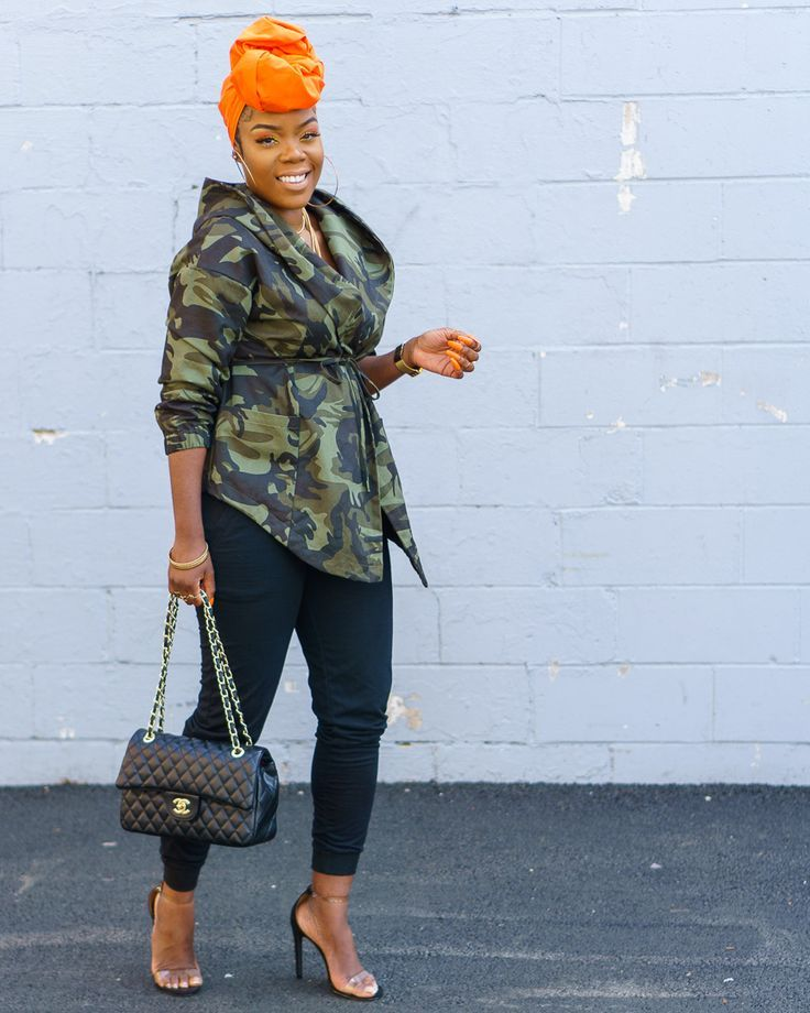c683ce11c258c Loving this #Camo Coat plan on wearing all #Spring and #Summer with shorts  and a crop top! #Headwrap #Orange #Chanel #ClearHeels #Makeup