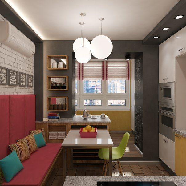"""Небольшая квартира на """"Речном вокзале"""" #кухня, #яркая, #желтый, #цветная, #полоски, #кирпич"""